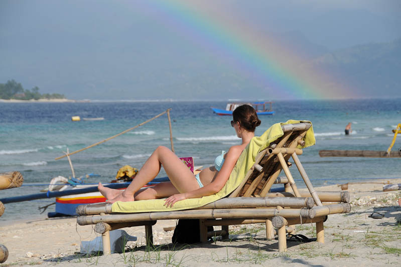 Lombok, Gili Trawangan, Strand, Beach, Regenbogen, Indonesien, Indonesia, Insel, Reiseberichte, www.wo-der-pfeffer-waechst.de