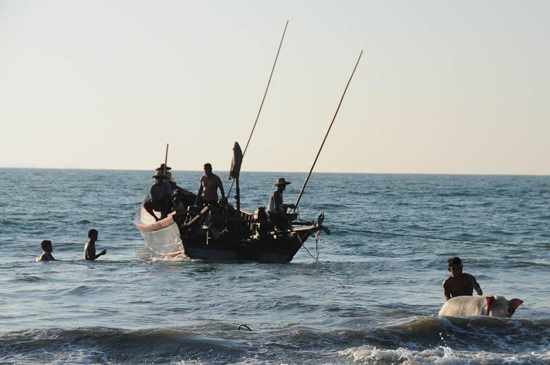 Ngwe Saung Beach, Strand, Boot, Schwein, Myanmar, Burma, Birma, Golf von Bengalen, Reisebericht, www.wo-der-pfeffer-waechst.de
