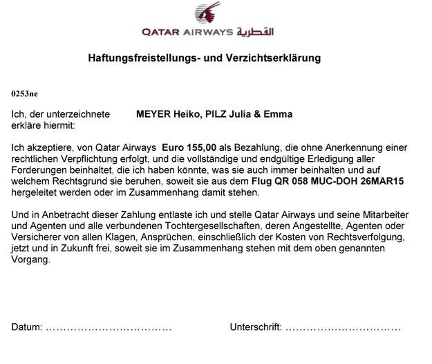 Haftungsfreistellungs- und Verzichtserklärung, Qatar Airways, Flugannullierung, Flugausfall, Flugverspätung, Flugstreichung, Flug gestrichen, verspätet, Entschädigung, Ausgleichszahlung, Fluggastrechte, Passagierrechte, www.wo-der-pfeffer-waechst.de