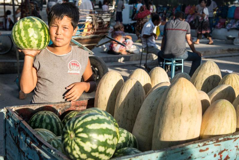 Shahrisabz, Basar, Markt, Melonen, Ausflug, Samarkand, Samarqand, Reisen, entlang der, Seidenstraße, Usbekistan, Zentralasien, Reiseberichte, www.wo-der-pfeffer-waechst.de