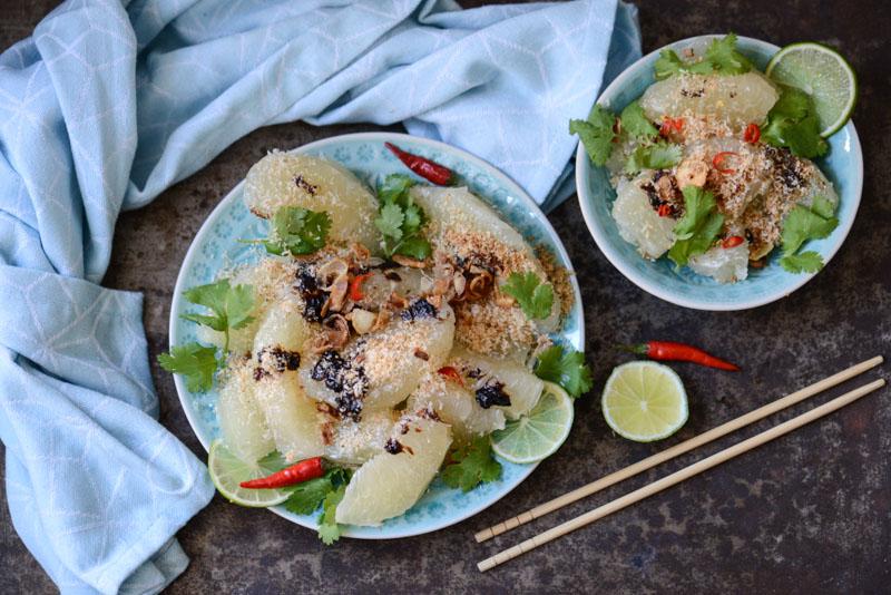 Thai-Pomelo-Salat, Yum Som-O, Yam Som-O, veganes Rezept, vegetarisches Rezept, Thailand, Asien, Kochen, Gerichte, Speisen, Essen, Zutaten, asiatische Küche, thailändische Küche, Zubereitung, Zutaten, Reise- und Food-Blog, www.wo-der-pfeffer-waechst.de