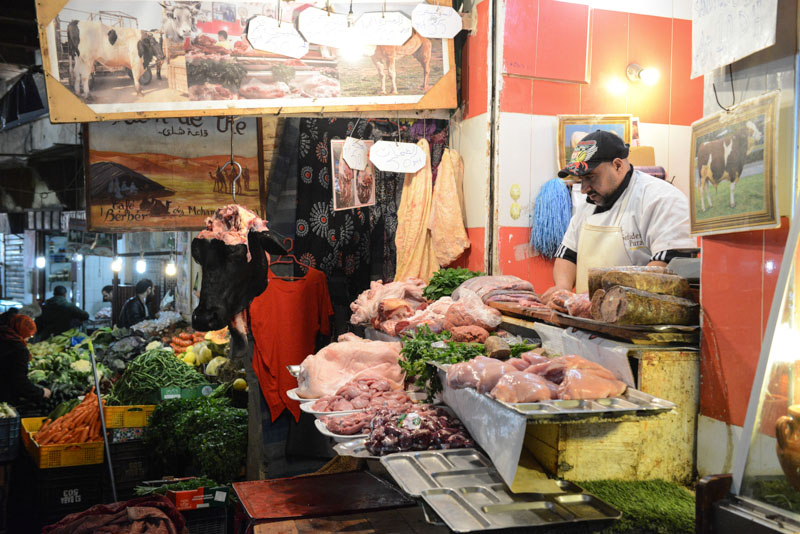 Fes, Fès, Fez, Marokko, Fleischerei, Metzger, Souks, Märkte, Medina, Altstadt, Reisebericht, www.wo-der-pfeffer-waechst.de