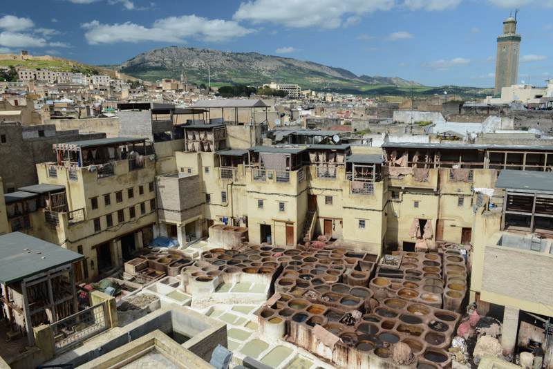 Fes, Fès, Fez, Marokko, Gerbereien, Tanneries, Färberviertel, Terrasse, Medina, Altstadt, Reisebericht, www.wo-der-pfeffer-waechst.de