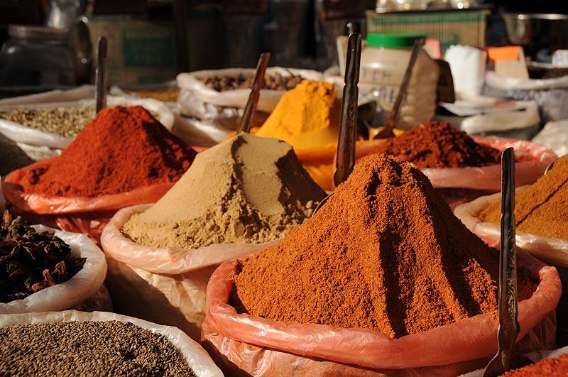 Anjuna-Flohmarkt, fleamarket, Gewürze, spices, Anjuna Beach, Goa, Strand, Strände, Indien, India, Reiseberichte, Südasien, Bilder, Fotos, www.wo-der-pfeffer-waechst.de
