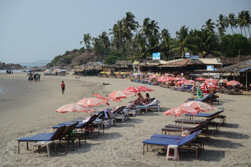 Little Vagator Beach, Ozran Beach, Goa, Strände, Beach Shacks, Sonnenliegen, Indien, India, Reisen, Südasien, Bilder, Fotos, Reiseberichte, www.wo-der-pfeffer-waechst.de