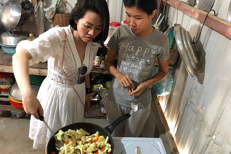 Dine With The Locals, Kambodscha, vegetarisches Essen, Küche, Rezepte, Khmer-Food, fried mixed vegetables, gebratenes Gemüse, www.wo-der-pfeffer-waechst.de