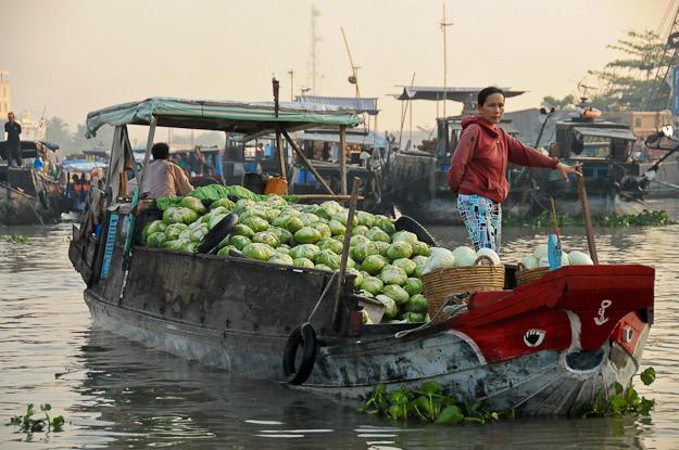 Vietnam, Mekong-Delta, Cai Rang, schwimmende Märkte, floating market, Can Tho, www.wo-der-pfeffer-waechst.de