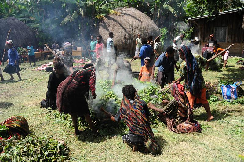Indonesien, West-Papua, Baliem-Tal, valley, Wamena, Dani, tribe, Stammesdorf, Dorffest, Ostern, Kochen, heiße Steine, Feuer, earth cooking, Reisebericht, www.wo-der-pfeffer-waechst.de