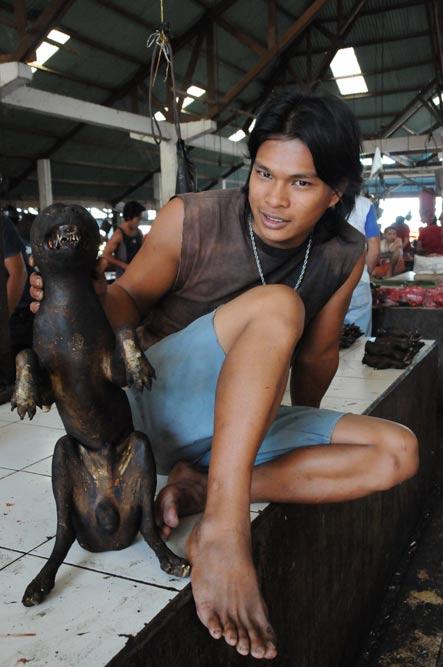 Tomohon, Markt, market, Minahasa-Hochland, Mann mit totem Hund, dead dog, Indonesien, Indonesia, Nord-Sulawesi, Reiseberichte, Foto: Heiko Meyer, www.wo-der-pfeffer-waechst.de