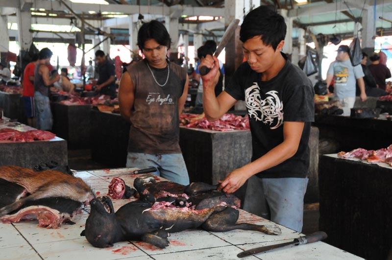 Tomohon, Markt, market, Minahasa-Hochland, toter Hund, Fleischer, dead dog, butcher, Indonesien, Indonesia, Nord-Sulawesi, Reiseberichte, Foto: Heiko Meyer, www.wo-der-pfeffer-waechst.de