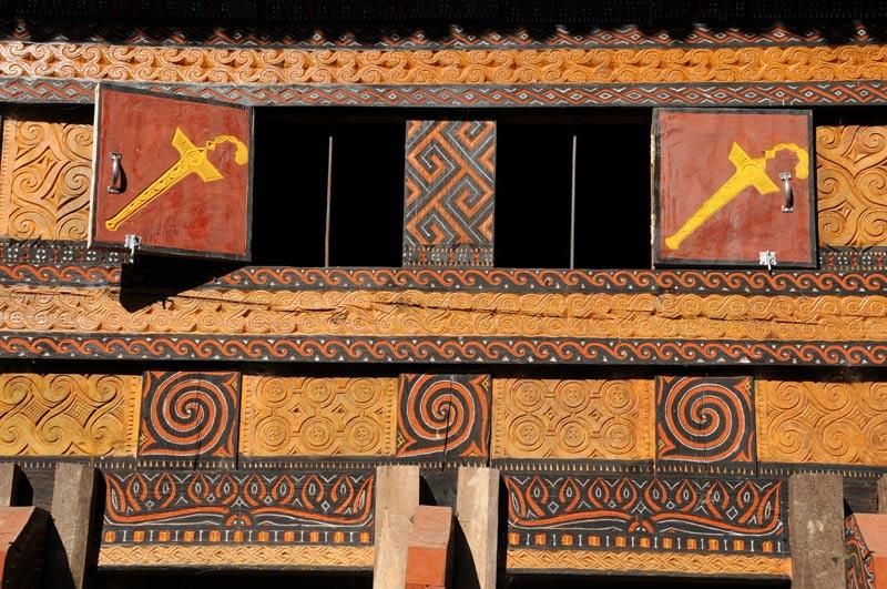 Tongkonan, Tana Toraja, Sulawesi, Island, Insel, Indonesien, Indonesia, traditionelle Häuser, Ornamente, Reiseberichte, Foto: Heiko Meyer, www.wo-der-pfeffer-waechst.de