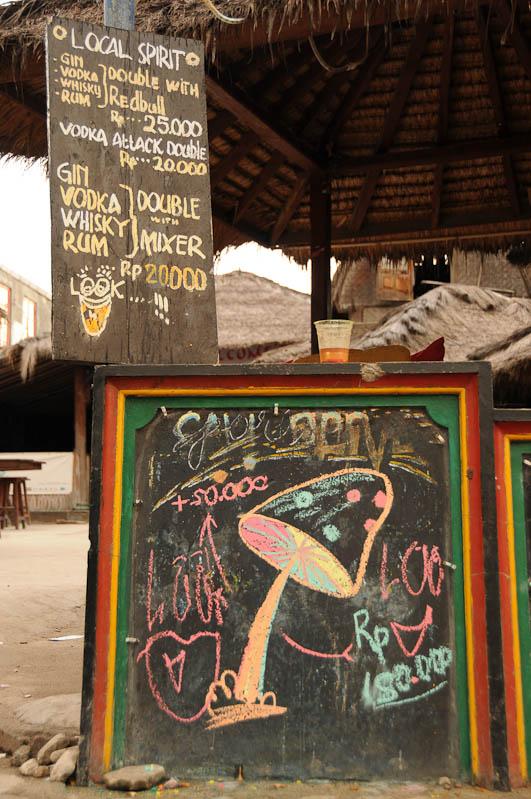 Gili Trawangan, Gili-Inseln, Gilis, Drogen, Alkohol, magic mushrooms, halluzinogene Pilze, Lombok, Indonesien, Indonesia, Reiseberichte, www.wo-der-pfeffer-waechst.de