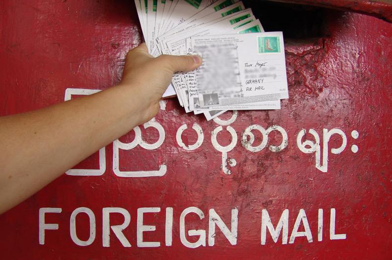 Postkarten, Briefkasten, letter box, Yangon, Myanmar, Burma, Birma, Reiseberichte, www.wo-der-pfeffer-waechst.de