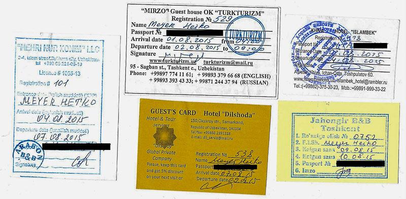 Usbekistan, Uzbekistan, Registrierung, registration card, Hotel, Guesthouse, Gästehaus, Unterkunft, Homestay, Visum, Visa, Seidenstraße, silk road, Zentralasien, Reiseberichte, www.wo-der-pfeffer-waechst.de