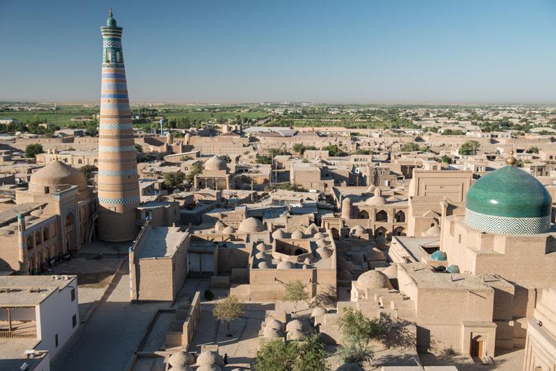 Chiwa, Khiva, Chiva, Xiva, Usbekistan, Uzbekistan, Minarett, Altstadt, Aussichtspunkt, viewpoint, Seidenstraße, Reiseberichte, www.wo-der-pfeffer-waechst.de
