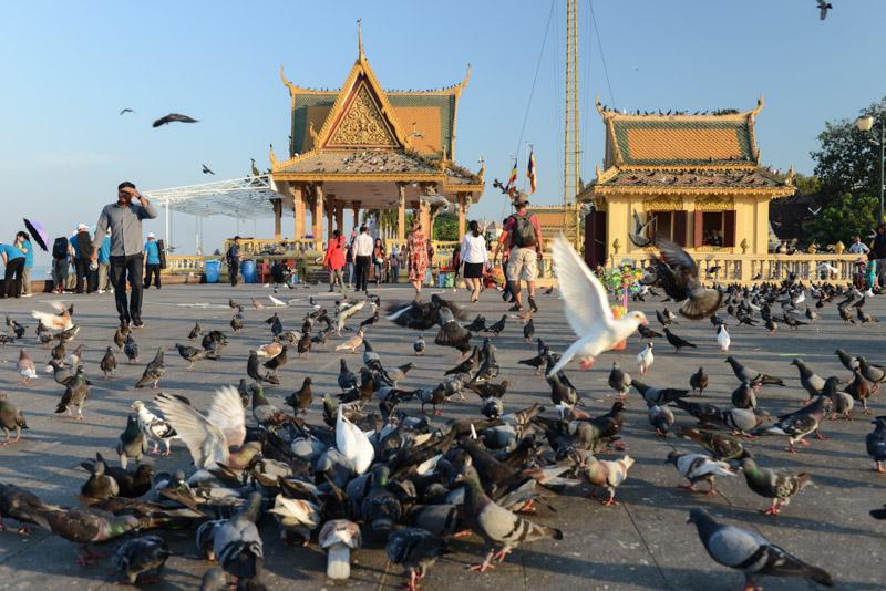 Promenade, Mekong-Ufer, Phnom Penh, Reisebericht, Kambodscha, Hauptstadt, Tauben füttern, Cambodia, Reisetipps, Sehenswürdigkeiten, Backpacking, Südostasien, Bilder, Foto: Heiko Meyer, www.wo-der-pfeffer-waechst.de