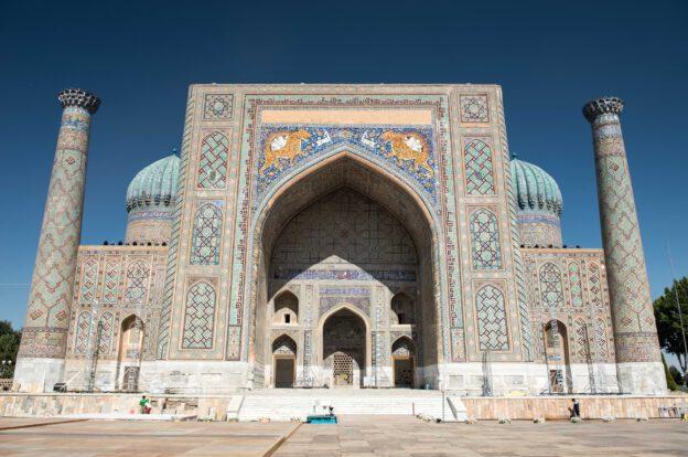 Samarkand, Samarqand, Reisen, entlang der, Seidenstraße, Usbekistan, Zentralasien, Registan, Registran, Registon, Sher-Dor-Medresse, Sherdor, Madrasa, Reiseberichte, www.wo-der-pfeffer-waechst.de